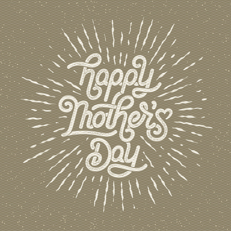 Happy Mothers Day Greeting Card. Holiday Vector Illustration With Lettering Composition And Burst. Vintage festive label. Ilustração