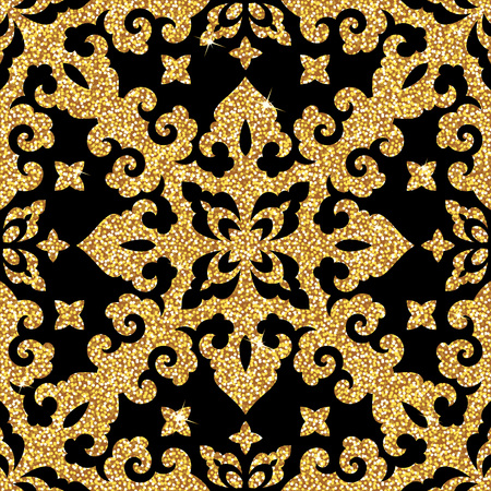 Seamless background from a floral golden ornament, Fashionable modern wallpaper or textile Ilustrace