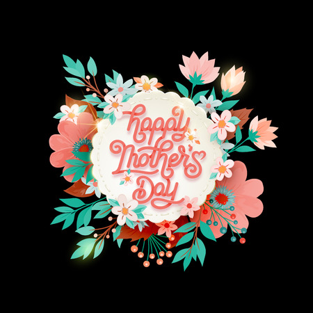 Lettering Happy Mothers Day beautiful greeting card.