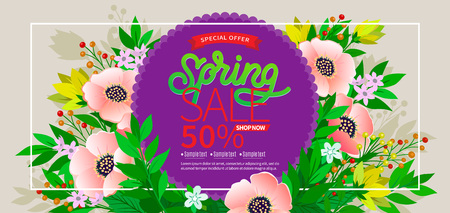 Spring background with green leaves and flowers on trendy geometric backdrop. Vector illustration. Fresh template design for posters, flyers or vouchers.