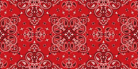Naadloos patroon op basis van ornament paisley Bandana Print. Boho vintage stijl vector achtergrond. Zijden halssjaal of hoofddoek vierkant patroon ontwerpstijl, beste motief voor print op stof of papper.