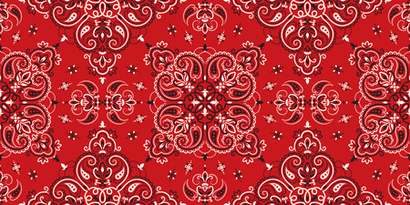 Nahtloses Muster basierend auf Ornament Paisley Bandana Print. Boho-Vintage-Stil-Vektor-Hintergrund. Seidenhalstuch oder Halstuch im quadratischen Musterdesign, bestes Motiv für den Druck auf Stoff oder Papier.