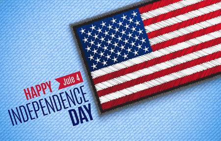 Czwartego lipca, amerykański Dzień Niepodległości wektor kartkę z życzeniami. Jule 4. Flaga USA na tkaninie jeansowej. Ilustracja wektorowa. Cyfrowy styl rękodzieła - haft, naszywka, symulacja prawdziwej tkaniny.