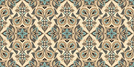 Seamless pattern based on traditional Asian elements Paisley. Boho vintage style background.