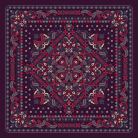 Vector ornament Bandana Print. Traditional ornamental ethnic pattern with paisley and flowers.