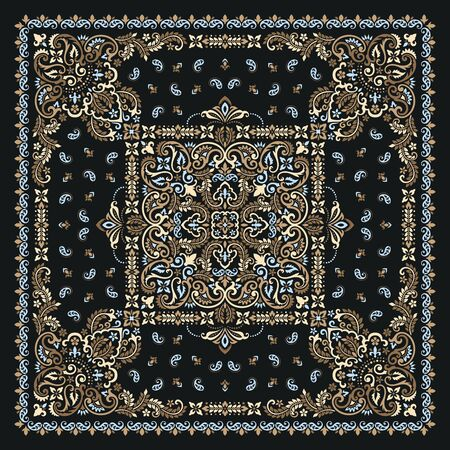 Vector ornament Bandana Print. Traditional ornamental ethnic pattern with paisley and flowers. Silk neck scarf or kerchief square pattern design style