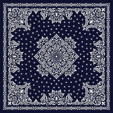 Vector ornament Bandana Print. Traditional ornamental ethnic pattern with paisley and flowers. Silk neck scarf or kerchief square pattern design style Imagens - 127985688