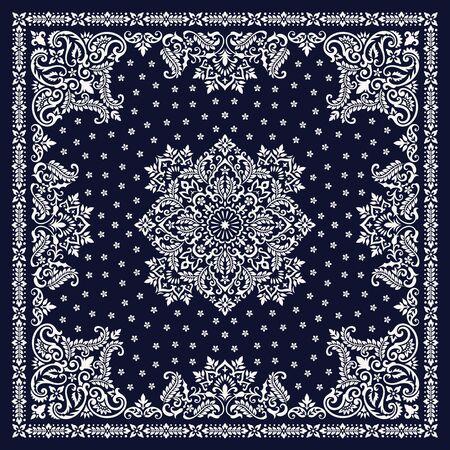 Vector ornamento Bandana Print. Patrón étnico ornamental tradicional con paisley y flores. Pañuelo de cuello de seda o estilo de diseño de patrón cuadrado de pañuelo Ilustración de vector