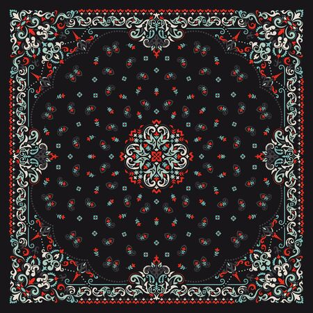 Ornament paisley Bandana Print. Silk neck scarf or kerchief square pattern design style, best motive for print on fabric or paper.
