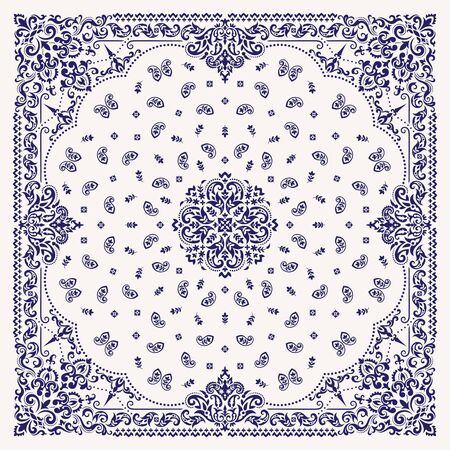 Vektor-Ornament-Paisley-Bandana-Druck. Seidenhalstuch oder Halstuch im quadratischen Musterdesign, bestes Motiv für den Druck auf Stoff oder Papier.