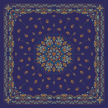 Vector ornament Bandana Print. Traditional ornamental ethnic pattern with paisley and flowers. Silk neck scarf or kerchief square pattern design style, best motive for print on fabric or papper. 일러스트
