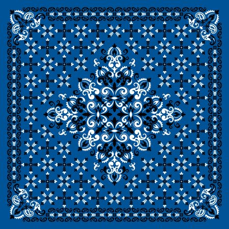 Vector ornament Bandana Print. Traditional ornamental ethnic pattern with paisley and flowers. Silk neck scarf or kerchief square pattern design style, best motive for print on fabric or papper. Çizim
