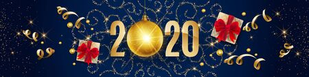 2020, Happy New Year, gold. Greeting card with golden text 2020 with christmas ball. Background, banner, poster. Vector Illustration of happy new year 2020 and gold elements