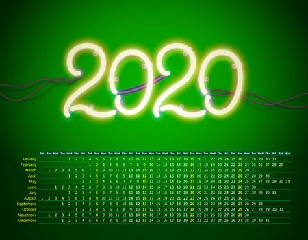 Glowing neon sign 2020 with wires, tubes and brackets. Vector element for New Year card, logo, calendar or other design.