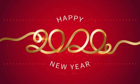 Happy New Year 2020. The inscription is made of curved gold ribbons. Golden numbers with ribbons and confetti on a red background. Congratulation on winter holidays. Vector.