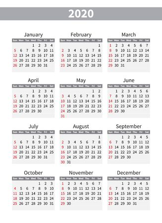 Calendar 2020, Week starts from Sunday, Business Template. Vector Illustration. English language Ilustracje wektorowe