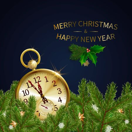 Green pine branches, blur decorative Christmas tree branch with golden clock. Vector illustration. Great for christmas cards, banners, flyers, party posters