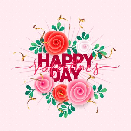 Vector holiday illustration of flowers. Happy Valentines Day. Festive romantic decoration. Standard-Bild - 139639659
