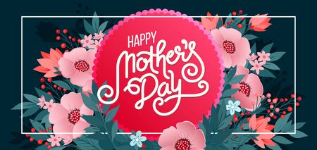 Lettering Happy Mothers Day beautiful greeting card. Bright vector illustration with colorful trend floral art. Traditional folk flowers bouquet.