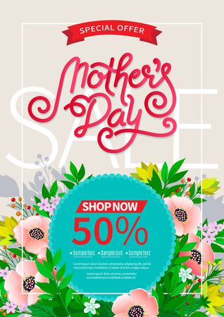 Lettering Happy Mothers Day beautiful greeting card. Bright vector illustration with colorful trend floral art. Traditional folk flowers bouquet. Ilustração