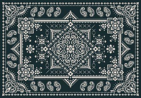 Rechteckiges dekoratives Bandana-Print-Vektordesign für Teppich, Teppich, Tapis, Schal, Handtuch, Textil, Yogamatte. Seidenhalstuch oder Kopftuchmuster im Designstil, Stoff oder Papier. Traditionelles dekoratives ethnisches Muster mit Paisley und Blumen.