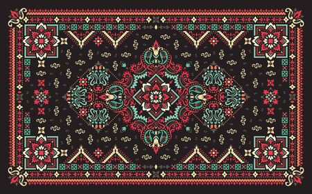 Rectangular ornamental Bandana Print vector design for rug, carpet, tapis, shawl, towel, textile, yoga mat. Silk neck scarf or kerchief pattern design style, fabric or papper. Traditional ornamental ethnic pattern with paisley and flowers.