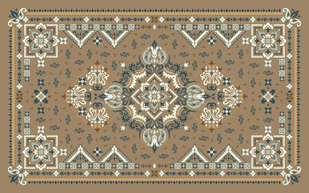 Rectangular ornamental Bandana Print vector design for rug, carpet, tapis, shawl, towel, textile, yoga mat. Silk neck scarf or kerchief pattern design style, fabric or papper. Traditional ornamental ethnic pattern with paisley and flowers. Ilustración de vector