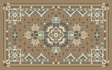 Rectangular ornamental Bandana Print vector design for rug, carpet, tapis, shawl, towel, textile, yoga mat. Silk neck scarf or kerchief pattern design style, fabric or papper. Traditional ornamental ethnic pattern with paisley and flowers. Vektorgrafik