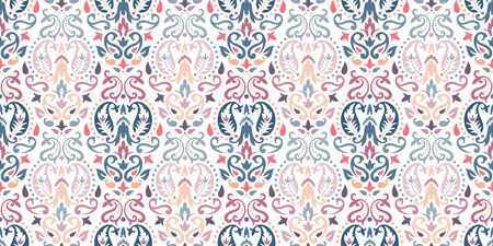 Rectangular seamless Bandana Print vector design for rug, carpet, tapis, shawl, towel, textile, yoga mat. Neck scarf or kerchief pattern design. Traditional ornamental ethnic pattern with paisley. Ilustración de vector