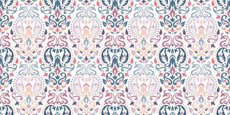 Rectangular seamless Bandana Print vector design for rug, carpet, tapis, shawl, towel, textile, yoga mat. Neck scarf or kerchief pattern design. Traditional ornamental ethnic pattern with paisley. Vektorgrafik