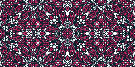 Seamless pattern based on ornament paisley Bandana Print. Boho vintage style vector background. Silk neck scarf or kerchief square pattern design style, best motive for print on fabric or papper.