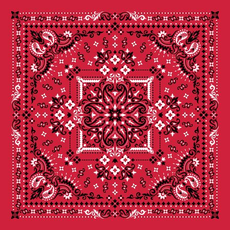 Vector ornament paisley Bandana Print. Silk neck scarf or kerchief square pattern design style, best motive for print on fabric or paper. Vecteurs