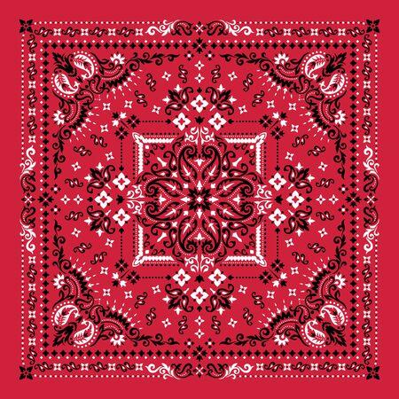 Vektor-Ornament-Paisley-Bandana-Druck. Seidenhalstuch oder Halstuch im quadratischen Musterdesign, bestes Motiv für den Druck auf Stoff oder Papier. Vektorgrafik