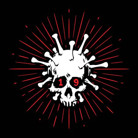 The image of a human skull is combined with a virus, as a symbol of mortal danger. For news, blogs, prints, banner, website, sticker, t-shirt. Ilustração