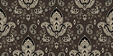 Rectangular seamless Boho Print vector design for rug, carpet, tapis, shawl, towel, textile, yoga mat. Neck scarf or kerchief pattern design. Traditional ornamental ethnic pattern with paisley.