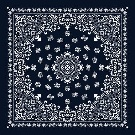 Vector ornament Bandana Print. Traditional ornamental ethnic pattern with paisley and flowers. Silk neck scarf or kerchief square pattern design style, best motive for print on fabric or papper.  イラスト・ベクター素材