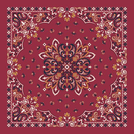 Vector ornament paisley Bandana Print. Silk neck scarf or kerchief square pattern design style, best motive for print on fabric or papper.