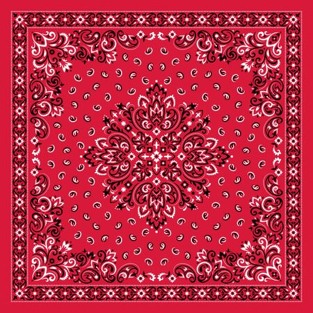 Vector ornament paisley Bandana Print. Silk neck scarf or kerchief square pattern design style, best motive for print on fabric or papper. 写真素材 - 146111537