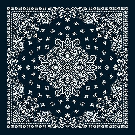 Vector ornament Bandana Print. Traditional ornamental ethnic pattern with paisley and flowers. Silk neck scarf or kerchief square pattern design style, best motive for print on fabric or paper.  イラスト・ベクター素材