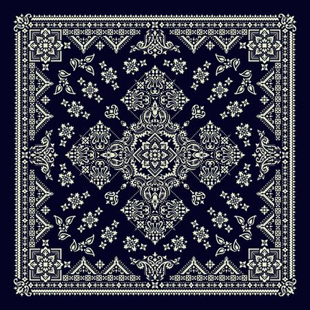 Vector ornament Bandana Print. Traditional ornamental ethnic pattern with paisley and flowers. Silk neck scarf or kerchief square pattern design style, best motive for print on fabric or papper. Illustration