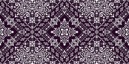 Rectangular seamless Bandana Print vector design for rug, carpet, tapis, shawl, towel, textile, yoga mat. Neck scarf or kerchief pattern design. Traditional ornamental ethnic pattern with paisley.