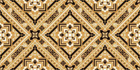 Rechteckiges nahtloses Bandana-Print-Vektordesign für Teppich, Teppich, Tapis, Schal, Handtuch, Textil, Yogamatte. Halstuch- oder Halstuchmuster-Design. Traditionelles dekoratives ethnisches Muster mit Paisley.