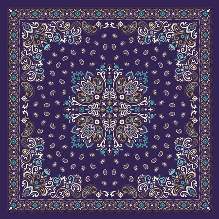 Vector ornament Bandana Print. Traditional ornamental ethnic pattern with paisley and flowers. Silk neck scarf or kerchief square pattern design style, best motive for print on fabric or papper. 写真素材 - 149944294