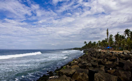 coast line of kovalam in kerala full of rocks and coconut trees photo