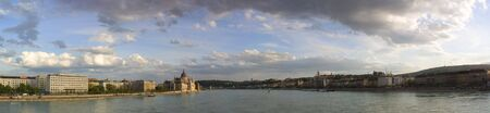 clowds: Penoramic view of Budapest on Denube river Stock Photo