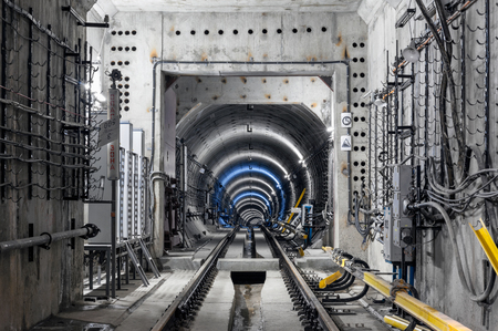 De bouw van de metrotunnel in Moskou Stockfoto