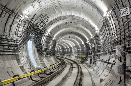 Construction of the subway tunnel in Moscow 免版税图像