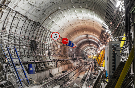 Construction of the subway tunnel in Moscow Zdjęcie Seryjne