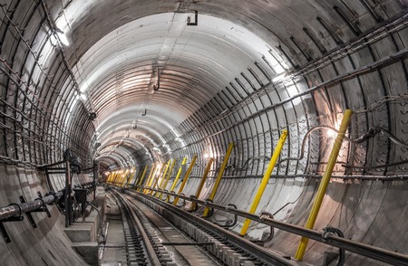 Construction of the subway tunnel in Moscow 스톡 콘텐츠
