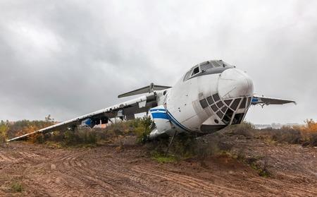 passenger aircraft: Large damage abandoned passenger aircraft Stock Photo